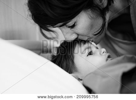 Mother and daughter in a hospital