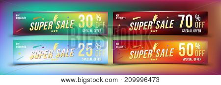 Super Sale 25 - 70 Off Discount. Set Banners In Horizontal Format. Special Offer, Template For Print