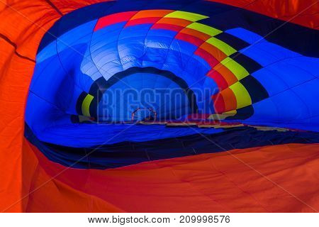 Multi colored hot air balloon view from inside