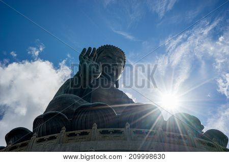 Hongkong scenic Tian Tan Buddha or Big Buddha a large bronze statue at Ngong Ping Lantau Island Hong Kong.