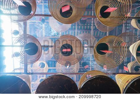 Man Mo Temple at Hong Kong . It is popular temple in Hongkong . poster