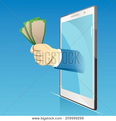 Vector cartoon business, online, e-business concept illustration of a hand holding money comes out from smartphone screen.