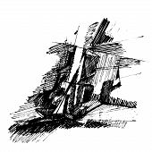 abstract drawing in black and white; creative illustration poster