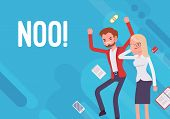 Noo. Business demotivation poster. Marketing mistakes, financial miscalculation, no target market and potential clients, employee turnover. Vector flat style cartoon illustration on blue background poster