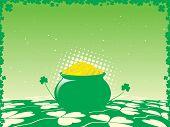 st. patricks day pot of gold vector illustration background poster