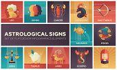 Astrological signs - set of flat design infographics elements. Horoscope square colorful icons. Leo, gemini, cancer, capricorn, sagittarius, aquarius, pisces, libra, taurus, aries, scorpio, virgo poster