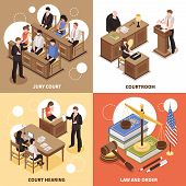 Law and order 2x2 isometric design concept with jury court courtroom court hearing square compositions  vector illustration poster