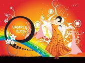 dancing girl in a nice dress with sample text, floral banner poster