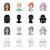 Girl, brown hair, and other  icon in cartoon style.Salonhygiene, clipping, coiffure icons in set collection. poster