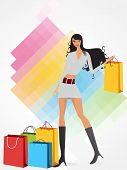 sweet and sexy female with colorful shopping bags on simply colorful background poster