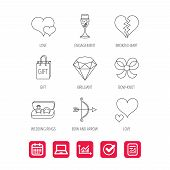 Love heart, gift box and wedding rings icons. Broken heart and engagement linear signs. Valentine amour arrow, brilliant flat line icons. Report document, Graph chart and Calendar signs. Vector poster