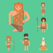 Caveman primitive stone age cartoon neanderthal people action character evolution vector illustration. prehistoric muscular warrior anthropology homo evolution family. poster