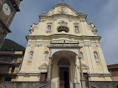 Baroque parish church of Gesu risorto o SS Salvatore (meaning Church of Resurrected Jesus or Most Holy Saviour) in Quincinetto Italy poster