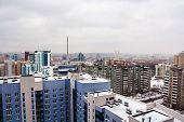 Yekaterinburg Russia. Aerial view of downtown in Yekaterinburg Russia during the cloudy day. Moody weather in biggest Ural city poster