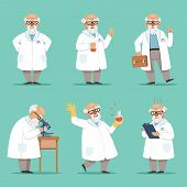 Character of old scientist or chemist. Mascot design of crazy professor. Male teacher. Vector pictures set. Chemist and scientist professor, experiment and science illustration poster