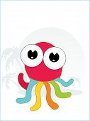 abstract tropical background with cute octopus poster