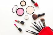 Makeup cosmetics tools background and beauty cosmetics products and facial cosmetics package lipstick eyeshadow on the white background. Lifestyle Concept. poster