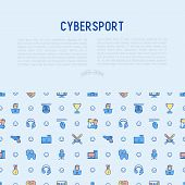 Cybersport concept with thin line icons: gamer, computer games, pc, headset, mouse, game controller. Modern vector illustration for banner, web page, print media. poster