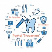 Vector linear blue round concept of Dental Treatment. Bur with tooth in the center and various line icons - toothpaste, dentist, cavity and instrument poster