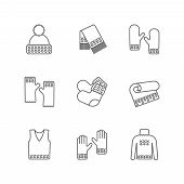 Winter warm knitted clothes icon set. Knitted samples thin line warm woolen things. Hat, scarf, mittens, waistcoat, plaid and other hand-knitted garments. Knit thin line pictograms. poster