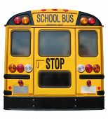 Back of yellow School Bus isolated on white poster