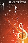 twinkle star background with musical notes wave, illustration poster