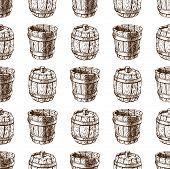 Wooden barrel vintage old style oak storage container seamless pattern retro liquid beverage fermenting distillery cargo drum lager vector illustration. Dark aged vine hoop beer cask drink. poster
