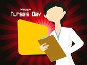abstract maroon rays background with cute nurse holding file poster