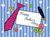 background with colorful button, tie and pen concept for father's day poster