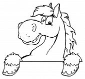 Outlined Horse Over A Sign Cartoon Character poster