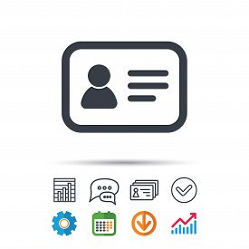 ID card icon. Personal identification document symbol. Statistics chart, chat speech bubble and contacts signs. Check web icon. Vector