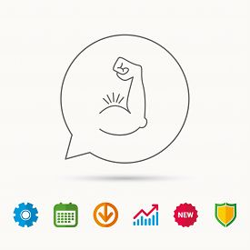 Biceps muscle icon. Bodybuilder strong arm sign. Weightlifting fitness symbol. Calendar, Graph chart and Cogwheel signs. Download and Shield web icons. Vector