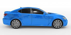 Car Isolated On White - Blue Paint, Tinted Glass - Right Side View
