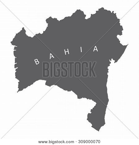 Bahia State Silhouette Map Isolated On White Background, Brazil