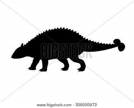 Vector Flat Black Silhouette Of Ankylosaurus Isolated On White