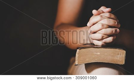 Christian Life Crisis Prayer To God. Woman Pray For God Blessing To Wishing Have A Better Life. Woma
