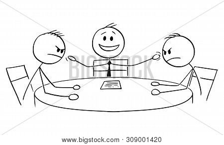 Cartoon Stick Figure Drawing Conceptual Illustration Of Political Debate In Television With Two Aggr