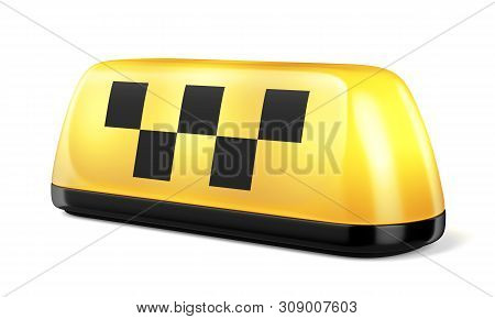 Yellow Glowing Taxi Automobile Sign Isolated On White Background. 3d Illustration