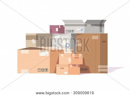 Cardboard Boxes Stack. Carton Parcels And Delivery Packages Pile, Flat Warehouse Goods And Cargo Tra