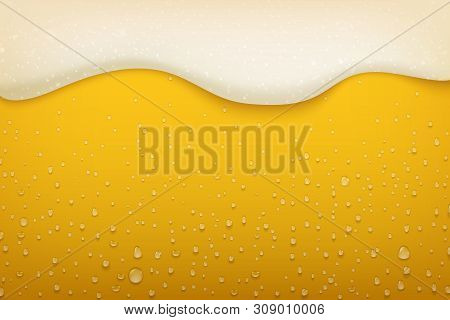Beer Foam. Realistic Craft Beer Bubbles Condensate And Flowing Foam, Beer Festival And Party Poster