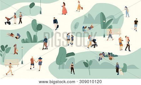 People In Park. Trendy Men And Women Crowd Walking In Summer Park, Cartoon Large People Group. Vecto