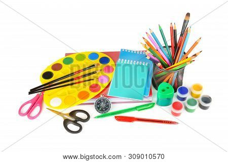 School Sale. Watercolor Paints, Notebooks And Other School Supplies Isolated On White Background.
