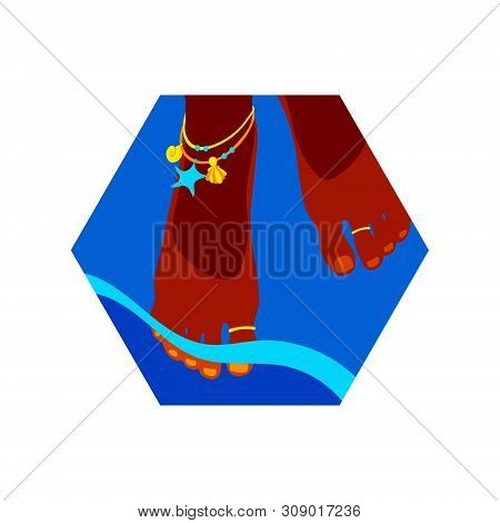Women's feet adorned with rings and bracelets in the oncoming coastal wave. Hexagon vector modern illustration, summer time design element, blue and orange beach holiday symbol. poster