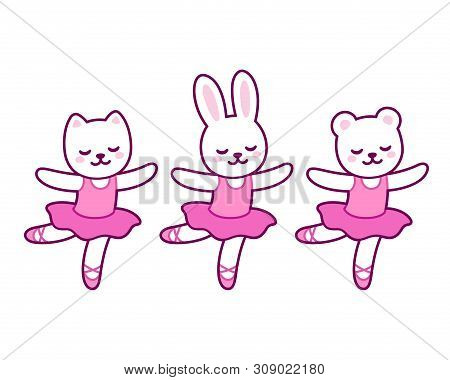 Cute Cartoon Animal Characters Dancing Ballet. Little Cat, Rabbit And Bear Ballerinas In Pink Tutu.