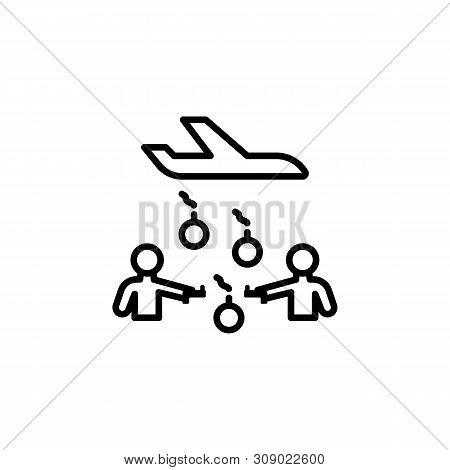 Battle Guns Migration Outline Icon. Element Of Migration Illustration Icon. Signs, Symbols Can Be Us