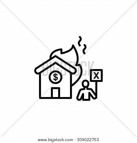 Burning Home Migration Outline Icon. Element Of Migration Illustration Icon. Signs, Symbols Can Be U