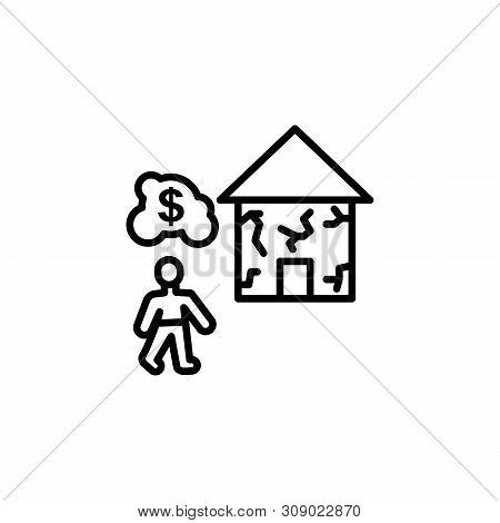 Home Earthquake Migration Outline Icon. Element Of Migration Illustration Icon. Signs, Symbols Can B