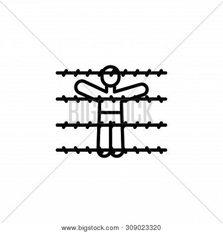 Fence Migration Outline Icon. Element Of Migration Illustration Icon. Signs, Symbols Can Be Used For