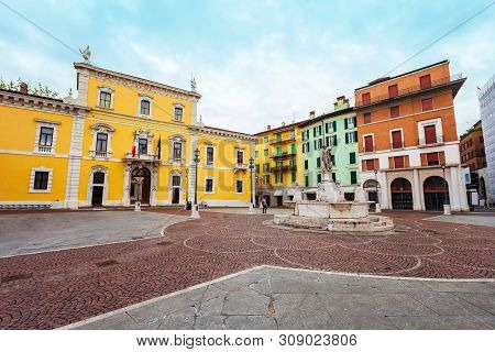 Piazza Del Mercato Or Market Square Is One Of The Main Squares Of Brescia City In North Italy