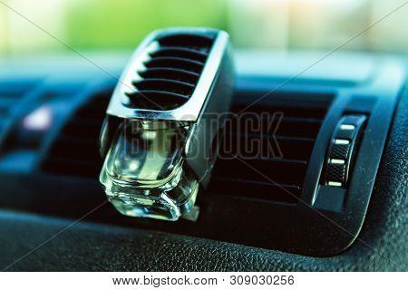Air Freshener In Car Vent, Black Interior, Car Deflectors, Fresh Air.
